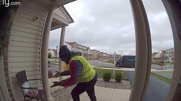 Mathew & Priscilla In The Morning - Amazon Delivery Guy Gets Excited After Finding Free Snacks On Porch