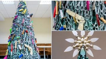 image for Airport Christmas Tree Made Entirely Of Items Security Confiscated.