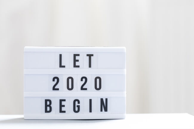 Let 2020 begin: Happy New Year Sign.