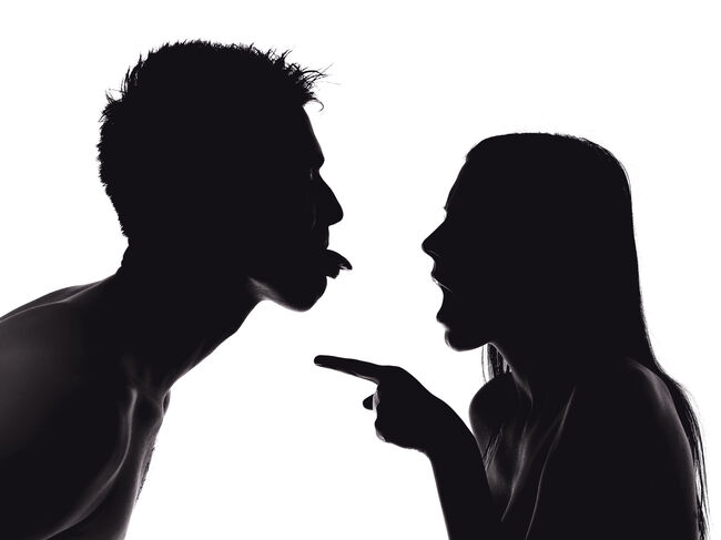 Silhouette Couple Fighting Against White Background
