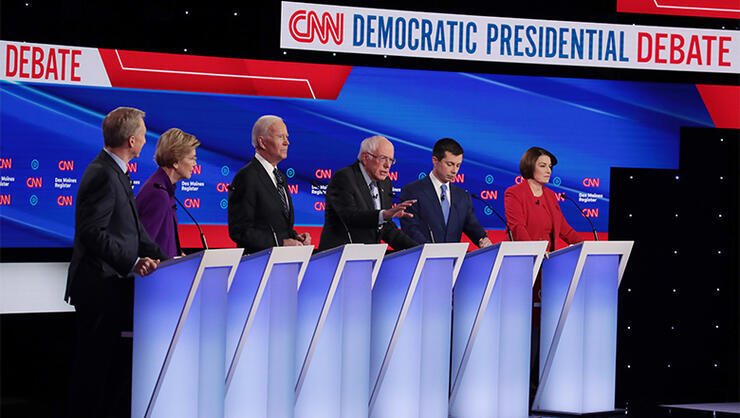 Democratic Presidential Candidates Participate In Presidential Primary Debate In Des Moines, Iowa