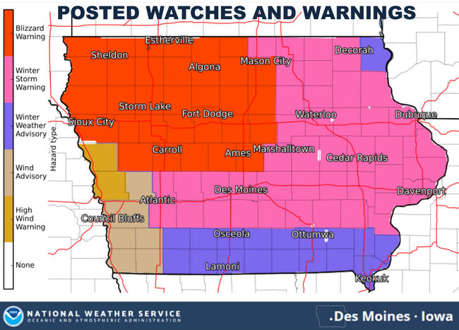 Winter Storm Warning for Des Moines, Blizzard Warning north ... on rock valley map, tribune map, iowa map, plattsmouth map, renton map, carroll map, audubon county map, winterset map, thurmont map, south bellevue map, omaha map, simsbury map, felida map, aurelia map, mirrormont map, wilmington international airport map, spokane falls map, northeast tacoma map, adair map, united states map,