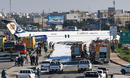 National News - Iranian Passenger Plane Skids Off Runway, Stops In The Middle Of A Highway