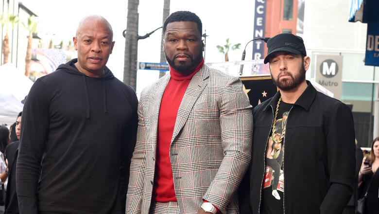 Eminem present as 50 Cent gets Hollywood Walk of Fame star honour