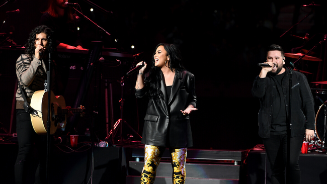 Demi Lovato Joins Dan + Shay For 'Speechless' Duet At Pre-Super Bowl Show