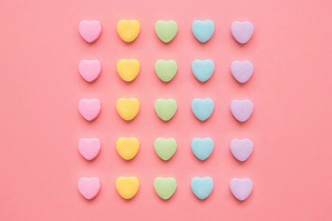 Love Hearts Background Valentine's Day Background With Rainbow Candy Hearts