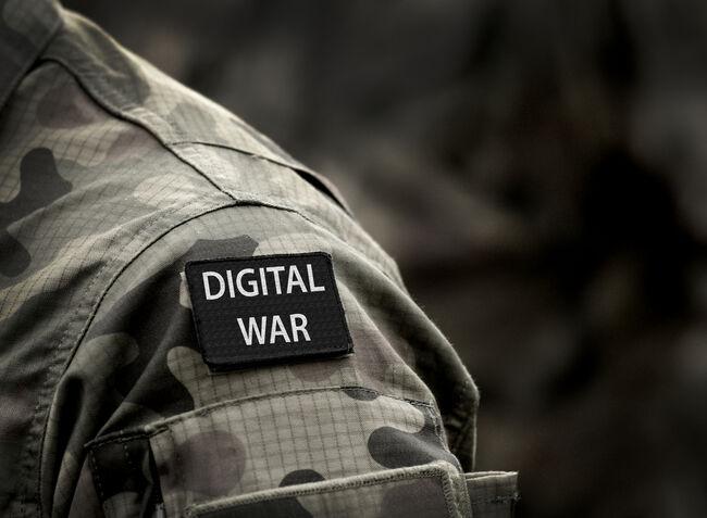Digital War inscription on military uniform. Digital War Concept.