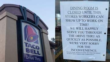 image for Taco Bell Store Closed Dining Room & Posted Sign Calling Out Late Employees