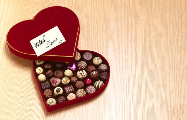 Valentines day heart shaped chocolates