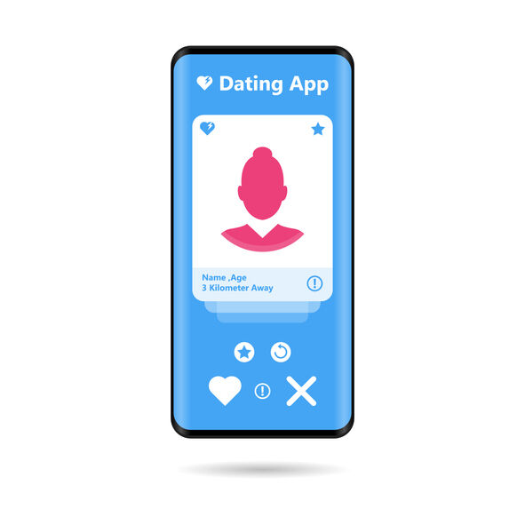 Hands holding mobile phones with abstract dating app profile on display Vector Illustration