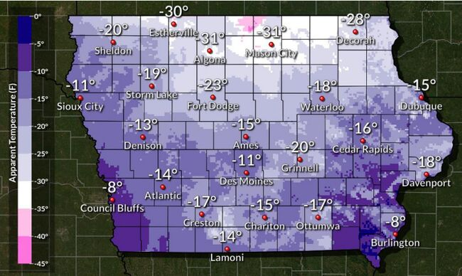 Iowa windchill map National Weather Service Des Moines