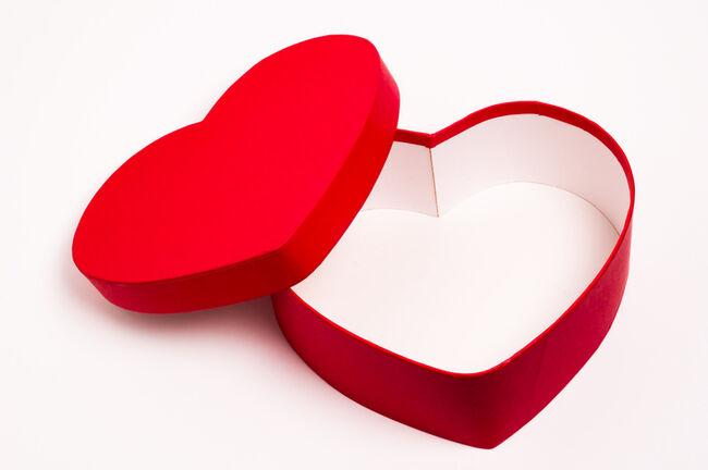 Empty heart shaped box