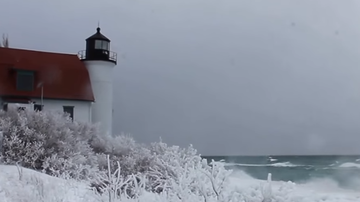 image for Lake Michigan high water levels damaging historic Point Betsie Lighthouse