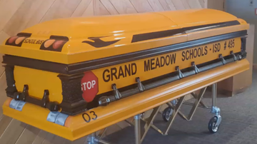 image for Guy Who Drove School Bus Laid to Rest in School Bus Casket
