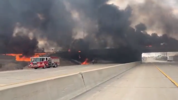 overpass fire in Indiana