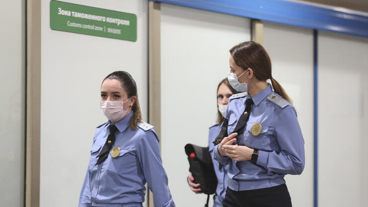 Passenger Checks At Sheremetyevo International Airport As Pandemic Threat Looms