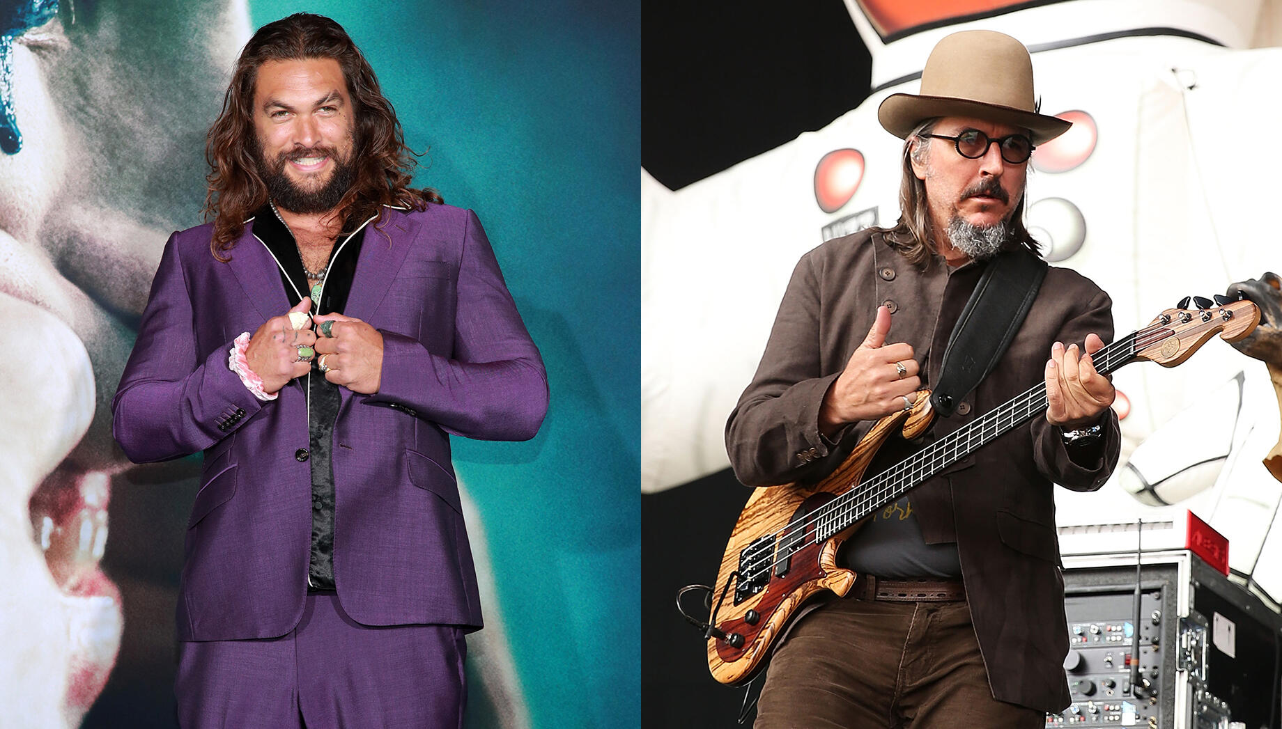 Jason Momoa Can't Contain His Joy After Les Claypool Gives Him A Bass