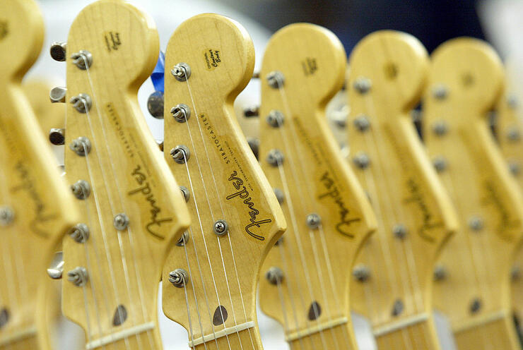 Stratocaster guitars at the Fender manuf