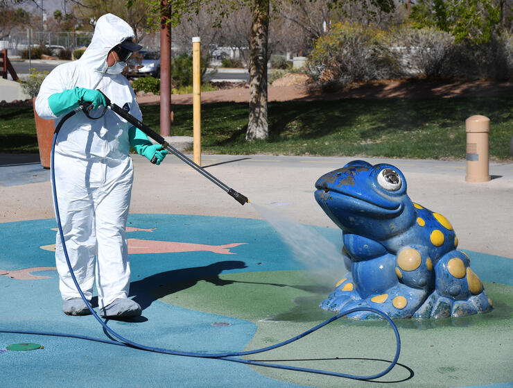 City Of Las Vegas Cleaning Crews Clean The City's Outdoor Parks