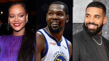 image for Rihanna Teases Kevin Durant Over Coronavirus Diagnosis, Drake Joins In