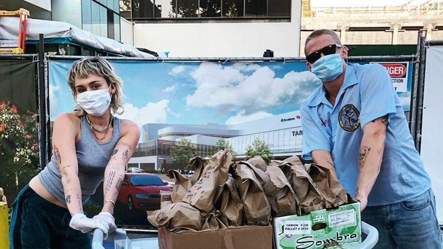 Miley Cyrus & Cody Simpson Deliver Tacos To Healthcare Workers | On Air with Ryan Seacrest