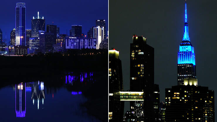 29 Photos Of Famous Buildings Going Blue To Honor Healthcare Workers | KFI AM 640
