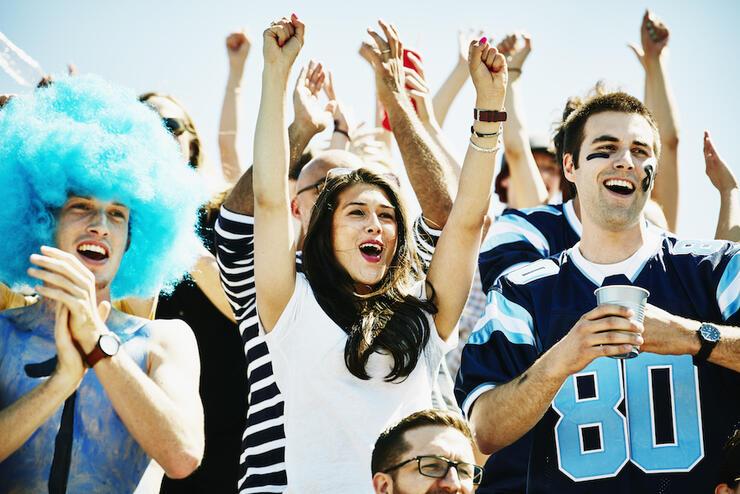 Football fans in stadium celebrating touchdown