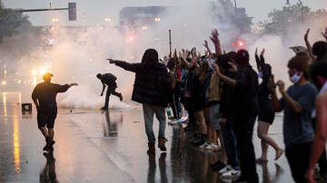 image for Police Fire Tear Gas At Protesters Gathering Over Death Of George Floyd