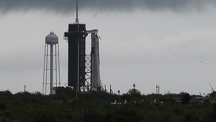 SpaceX Falcon-9 Rocket And Crew Dragon Capsule Prepares To Launch From Cape Canaveral Sending Astronauts To The International Space Station