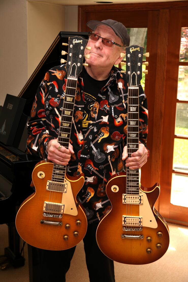 Cheap Trick's Rick Nielsen with his 1959 Les Paul Standards. Photo: Mike Graham.