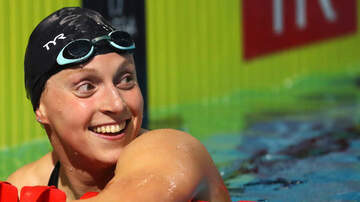 image for Katie Ledecky swims while balancing chocolate milk on her head!
