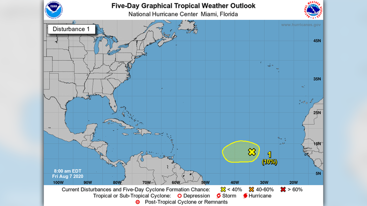 NHC Watching Area In Tropical Atlantic For Possible Development