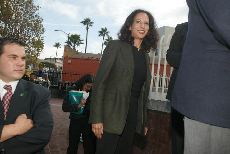 Kamala Harris meets with supporters in front of the 24th street BART station while on the campain trail with Cruz Bustamonte