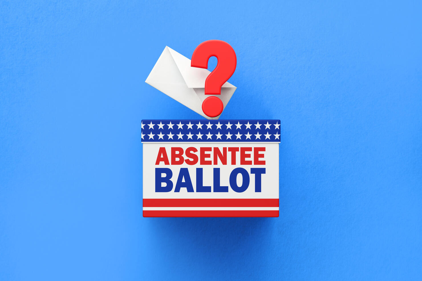 GETTY IMAGE: Absentee Ballot Written Ballot Box and White Vote Envelope Sitting on White Background