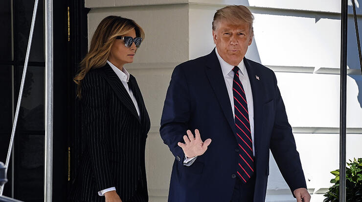 President Trump, en route to Cleveland for the first televised debate with opponent Joe Biden, departs the White House, on September 29 in Washington, DC.