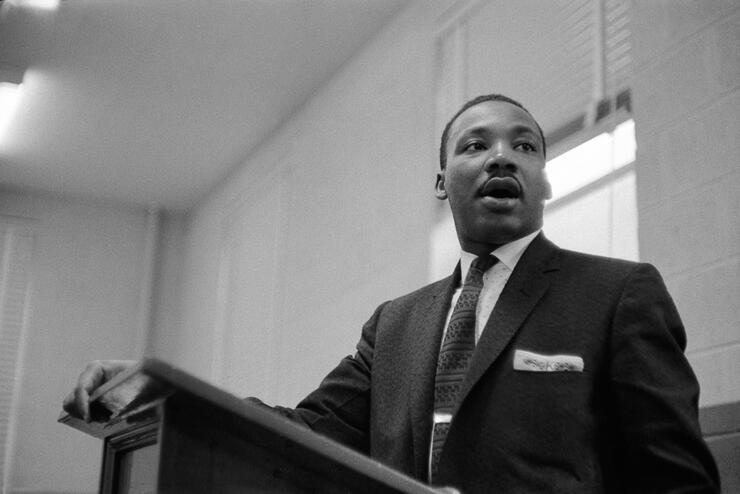 Dr. King Addresses Meeting
