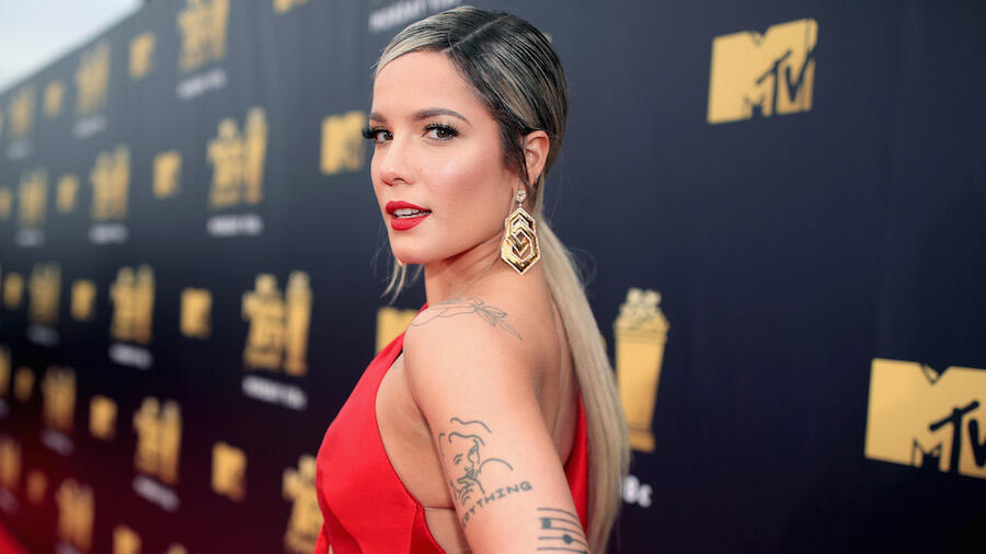 Halsey Shows Off Growing Baby Bump In Floral Bikini