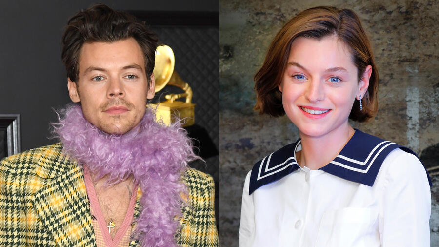 Harry Styles Passionately Kisses Emma Corrin On The Set Of 'My Policeman'