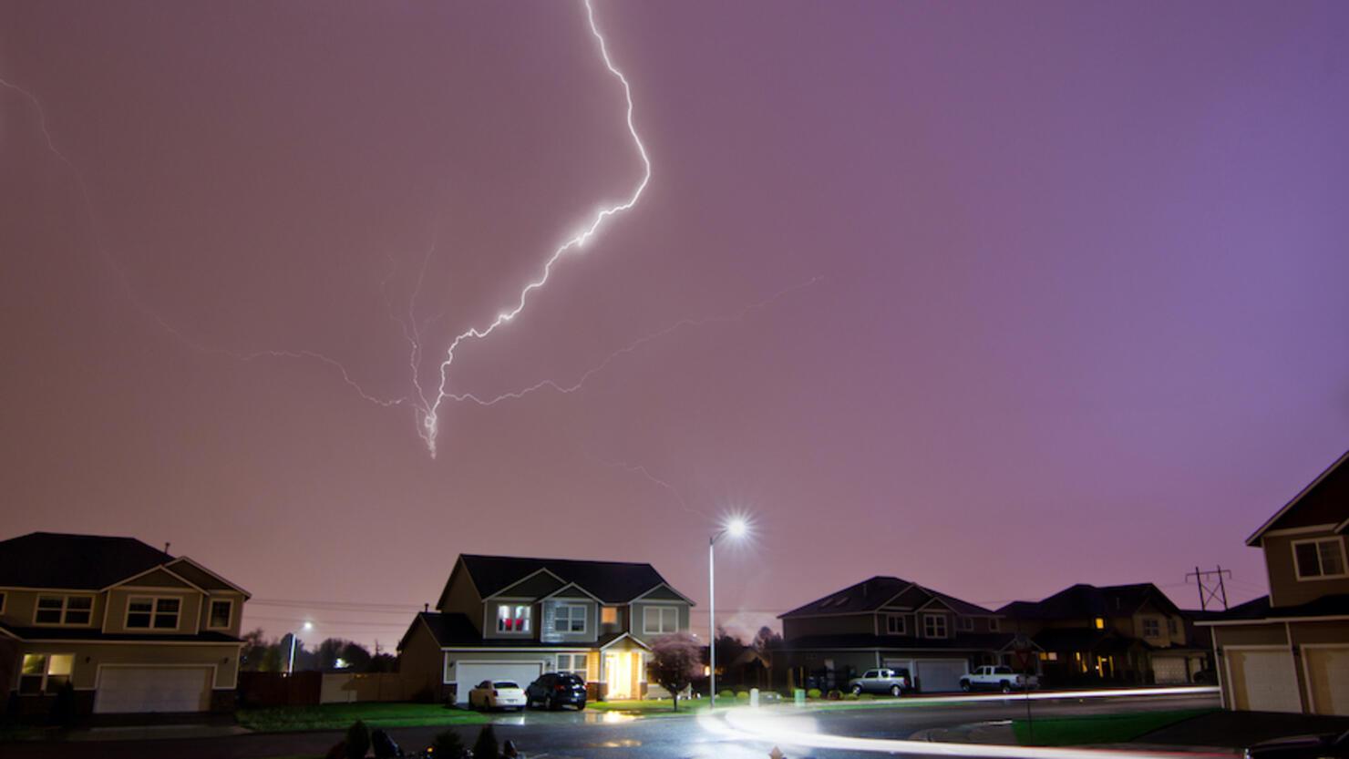 Lightning Strikes Above Home