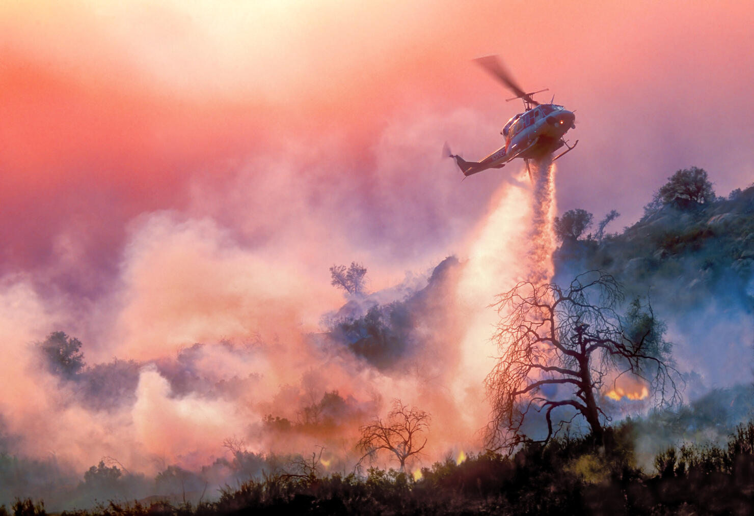Helicopter Water-Drop on California Wildfire