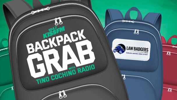 KISS FM Backpack Grab with Tino Cochino Radio