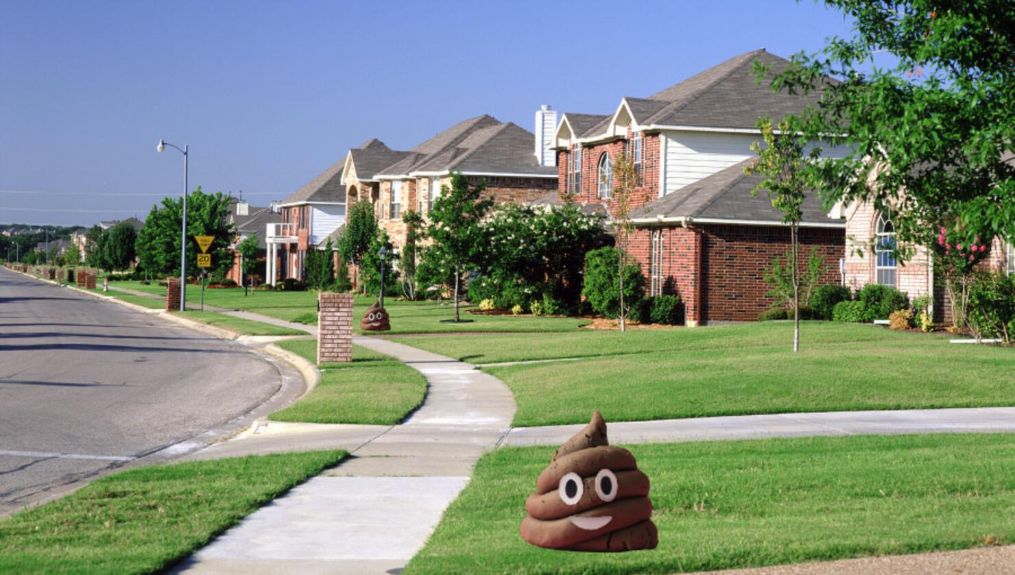 Smiling poop emoji on a front lawn.