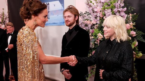 Billie Eilish & FINNEAS Meet Kate Middleton On 'No Time To Die' Red Carpet