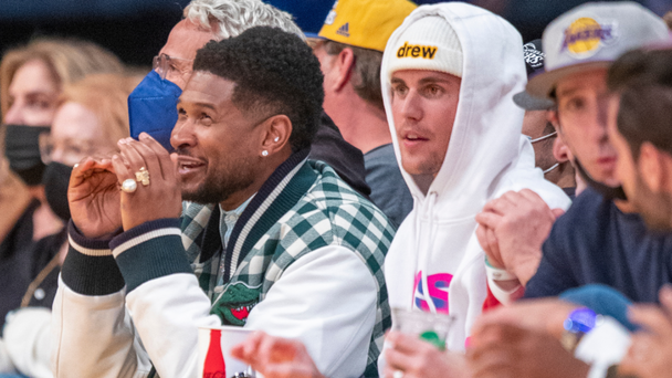 Justin Bieber Spotted Catching Up With Usher At NBA Season Opener In LA