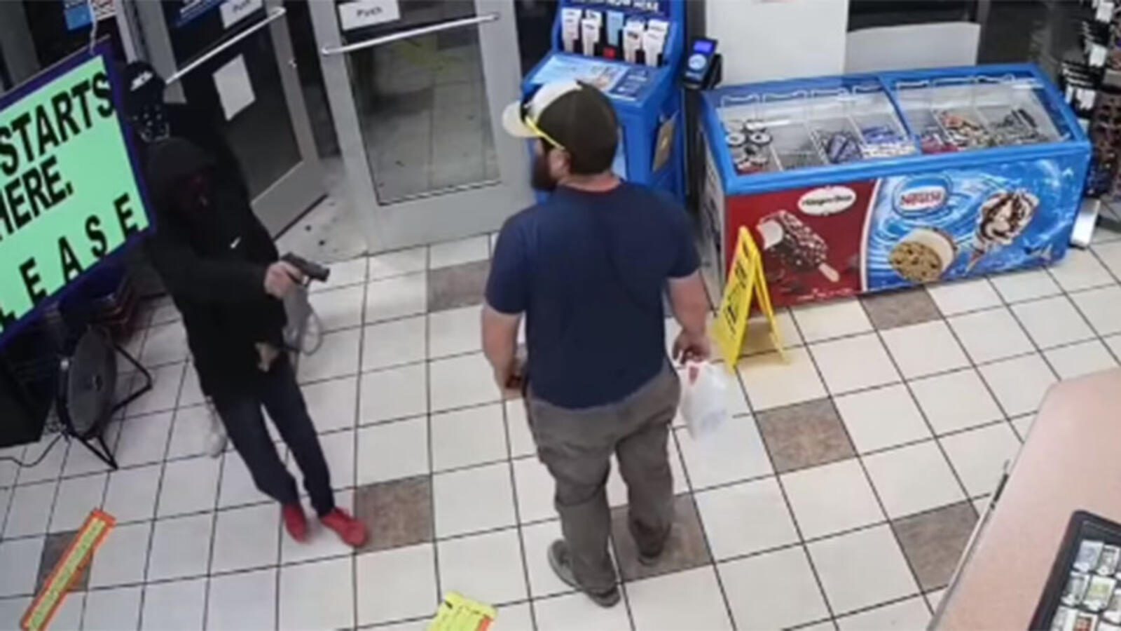 WATCH: Marine Veteran Quickly Disarms Gas Station Robber