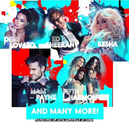 Demi Lovato, Ed Sheeran, Kesha, Liam Payne, Fifth Harmony and many more!