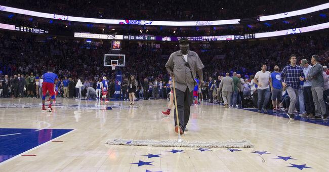 NBA 76ers boston celtics confetti fiasco cleanup