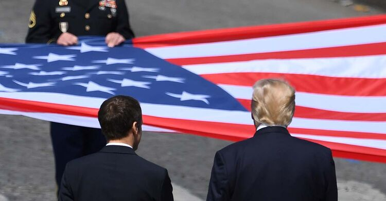 donald trump flag parade france paris