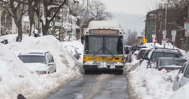 MBTA bus in snow