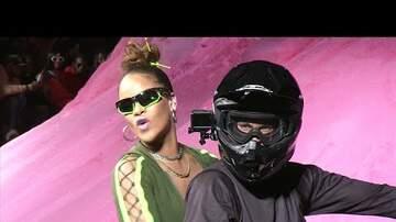 Cyndi - Rihanna Rides into NY Fashion Week on Motorcycle